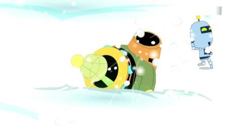 开心超人:大大怪找不到小小怪,不料小小怪从雪里钻出来了!粗心超人用电网改装了被子,大大怪和小小怪都被电击中了!