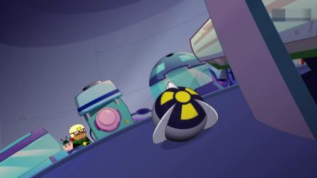 开心超人:大大怪把黑宝石扔出去了,整容机器变成了大怪兽!大怪兽把灯泡老板打飞了,灯泡老板在地上滚了好久!