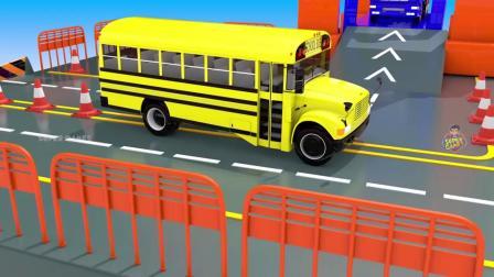 动画,街车3D电梯多层停车场,以了解儿童车辆停放影片的色彩