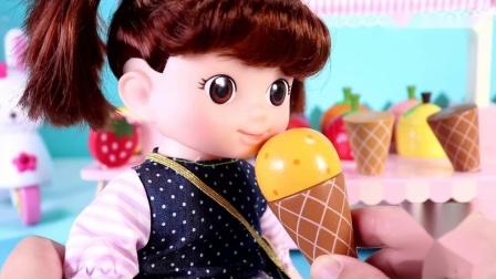 木制水果雪糕玩具萌鸡小队到咪露雪糕店买雪糕给鸡妈妈带外卖