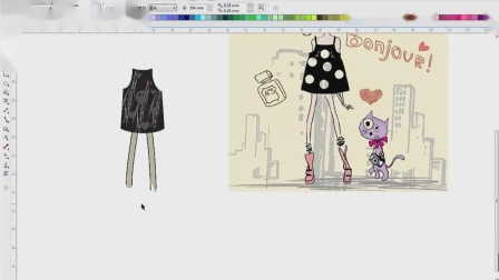 CDR卡通插画绘制可爱女生