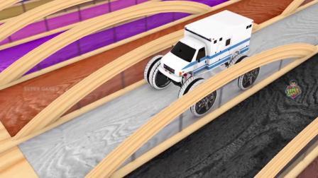 街道车辆玩具停车场三维动画视频-形状管道彩色水路