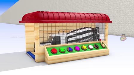 街道车辆玩具停车场为儿童设置,为儿童学习色彩,卡车停车场视频
