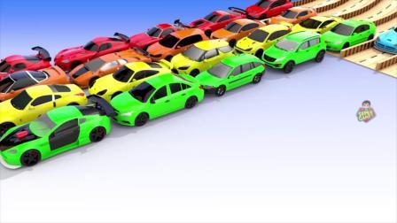 迷你赛车颜色改变颜色的水足迹和泊车汽车3D _汽车为孩子
