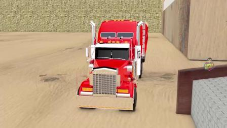 迷你超级汽车玩具变色的数字及形状曲目3D _卡车运输汽车