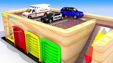 马路上的车辆用木制的着色玩具给孩子们学习色彩,给孩子们学习色彩