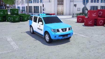 汽车行驶中发生事故,警车来救援,换成各种匹配型的轮胎,动画