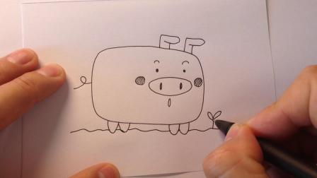 动物简笔画.可爱的方形小猪