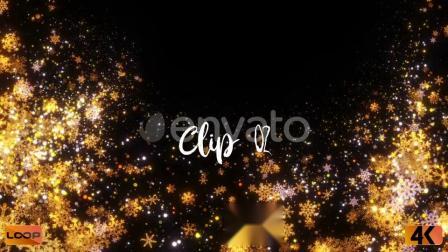 圣诞元素装饰金色闪闪发光雪花粒子4K视频素材