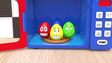启蒙动画,巧克力豆放进魔法微波炉里,变出各种颜色