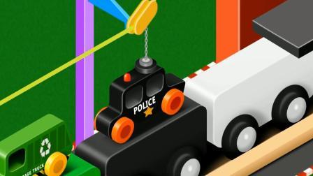 积木火车拉警车冰淇淋车  认识颜色  学习英语 婴幼儿早教启蒙游戏