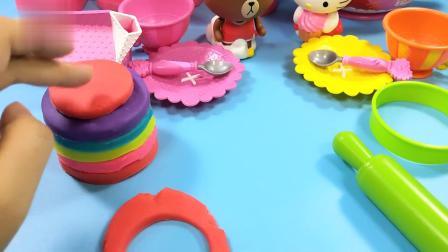 凯蒂猫的多彩下午茶蛋糕,冰淇淋和水果,黏土创意食玩手工DIY