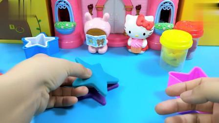 凯蒂猫和读书熊制作冰淇淋蛋糕,黏土创意手工食玩,制作可爱蛋糕