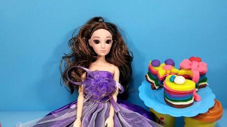 亲子早教食物玩具:芭比娃娃制作心形彩虹蛋糕,益智儿童玩具