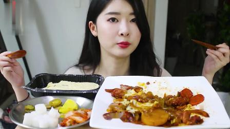 大胃王Hamzy:小姐姐泡菜炖粉条,盖上芝士更好吃!