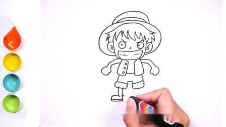 """可爱的卡通人物简笔画一看就会的""""海贼王""""路飞"""