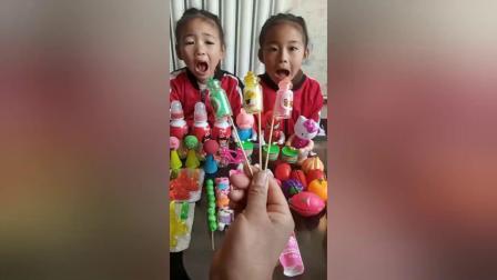 儿童玩具:老师和小朋友一起玩,泡泡糖和棒棒糖,真好玩