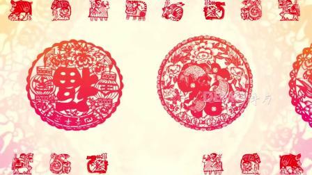 春节晚会视频 唱歌视频 配乐视频 c392喜庆花纹中国风剪纸姑娘儿童节日民族舞蹈文艺演出表演舞台大屏幕LED视频背景素材 学校晚会