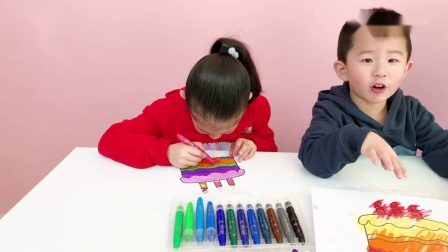 宝宝涂色生日蛋糕儿童绘画亲子着色幼儿颜色启蒙涂鸦