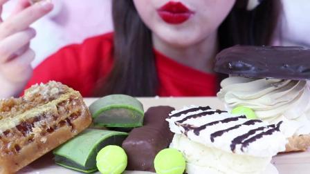 胖姐姐大胃王吃播秀,挑战吃新鲜芦荟,吃蜂巢,吃各种巧克力豆!