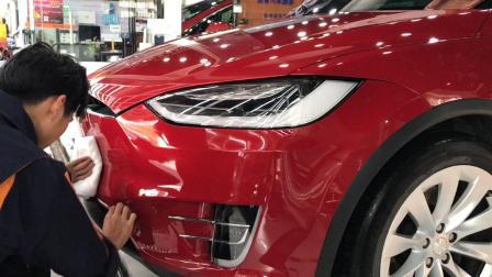 特斯拉modelx漆面镀晶施工,杭州汽车镀晶,保护车漆,提升光泽度