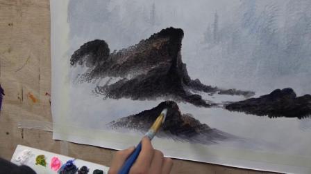 零基础学画画,自学画画,刀画自学视频之冬季雪景中近景石头的画法