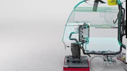 坦能新式手扶式洗地机工作原理动画说明Tennant T300