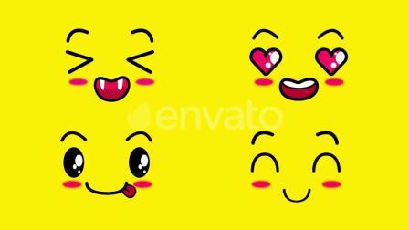 综艺可爱笑脸视频素材 Cartoon Kawaii Faces 24685336