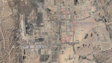 从卫星地图看甘肃兰州,市区建在狭长的山谷里,平地基本都用光了