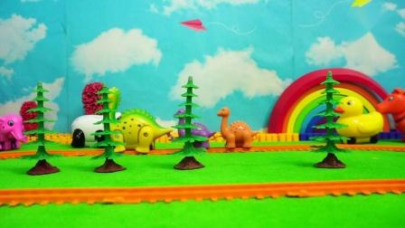 恐龙列车视频儿童列车轨道设置图兰