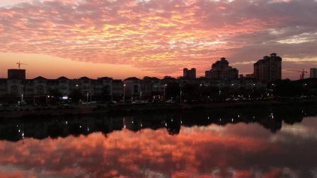 航拍2019最美的广州晚霞,番禺市桥河畔