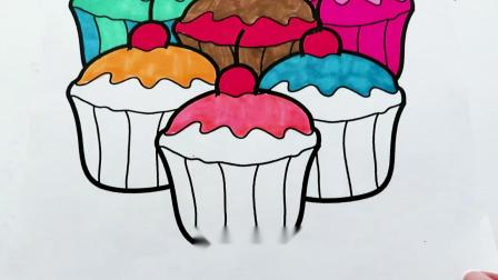 闪闪发光的纸杯蛋糕着色书页为幼儿学习颜色