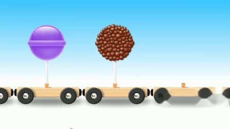 积木小火车拉棒棒糖游戏 认识颜色 学习英语  婴幼儿早教益智动画玩具