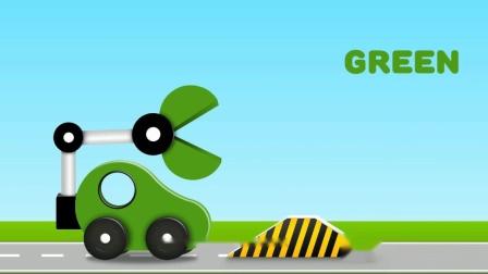 机械大嘴吃小汽车游戏 认识 颜色学习英语  婴幼儿早教益智动画
