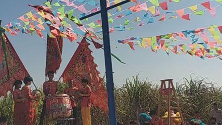 高杆桩-广东湛江雷州市客路镇双墩村揭氏宗族宁南公祠于2019年1 2月7号(十一月十二吉日)邀请雷州客路镇内村醒狮团参加入伙开光陞座大吉庆典出狮贺喜旺场。