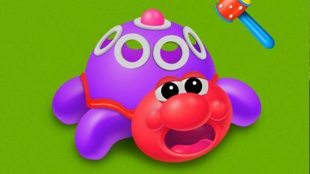 乌龟球球机变卡通动物游戏 认识 颜色 学习英语 婴幼儿早教益智动画玩具