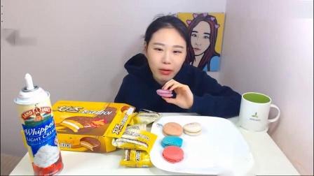 韩国吃播卡妹吃播马卡龙饼干系列