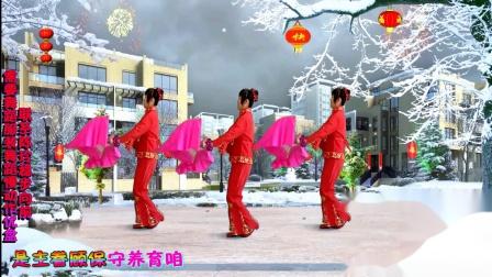 稳步向前广场舞《新年 神赐新恩典》扇子舞蹈 原创视频