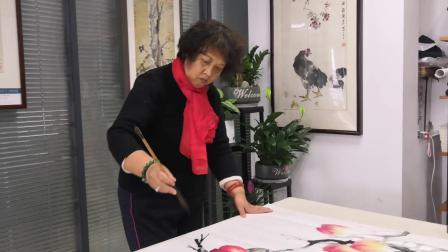 淳道字画网签约画家潘秀宏国画寿桃创作现场