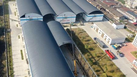 延时摄影 广东湛江拱形屋顶工程,跨度24米