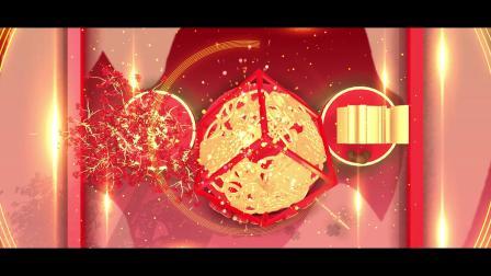 三维喜庆金光辉煌背景闪耀2020中国新年春节联欢晚会开场片头AE模板