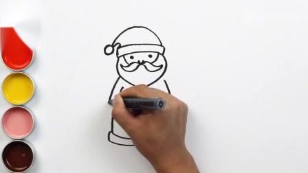 闪光的圣诞老人彩绘,让宝宝、儿童学习绘画、着色和启蒙英语