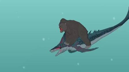 黑色幽默动画,猩猩下河偶遇食人鱼,不料却成为别人的盘中餐!