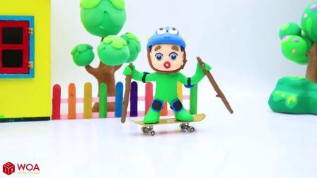 儿童卡通片:小男孩与小蜘蛛一起玩滑板