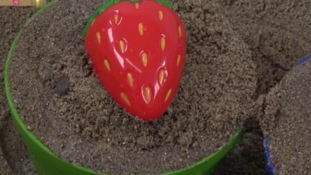 玩沙子,彩色铲子,学英语数字和颜色,认识水果,惊喜蛋玩具