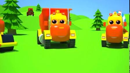 推土机,压道机,自卸车给小火车铺设铁道儿童动画片