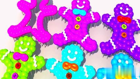 卡通玩具棒棒糖组成饼干小人认颜色