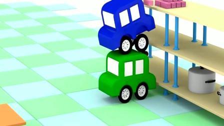 小汽车戴上厨师帽学院里接水做蛋糕
