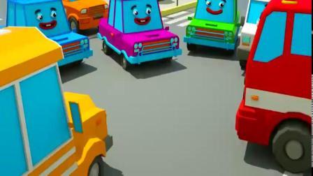 怪物卡车和车在城市街道踢足球卡通动画