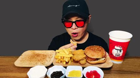 火腿三明治,香辣鸡肉汉堡,嫩香鸡块,可乐(吃播,咀嚼音)